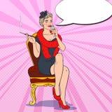 Schöne Frau mit Glas Champagner Femme fatale Retro- Illustration der Pop-Art Stockfoto