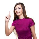 Schöne Frau mit großer Idee Lizenzfreie Stockfotografie