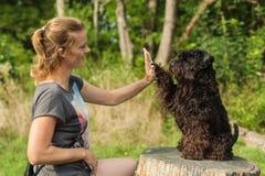 Schöne Frau mit Hund Stockfotos