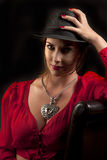 Schöne Frau mit Hut Stockbild