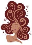 Schöne Frau mit Kaffee auf Haar lizenzfreies stockbild
