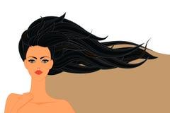 Schöne Frau mit langem Haar-Hintergrund, Vektor-Illustration Stockfoto