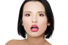 Schöne Frau mit Regenbogenauge bilden Lizenzfreies Stockfoto