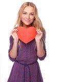 Schöne Frau mit rotem Innerem Lizenzfreies Stockfoto