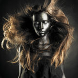 Schöne Frau mit schwarzer Haut Stockbild