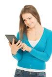 Schöne Frau mit Tablette Lizenzfreie Stockfotos