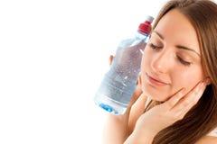 Schöne Frau mit Wasser stockbilder