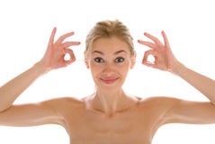 Schöne Frau säubert Ohren wadded Steuerknüppel Stockfotos