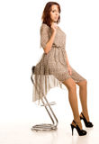 Schöne Frau in a sehen-durch Kleid Stockfoto