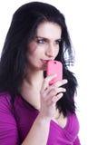 Schöne Frau am Telefon Stockbilder