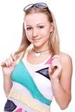 Schöne Frauen in einem farbigen Hemd Lizenzfreies Stockbild