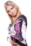 Schöne Frauen in einem farbigen Kleid Lizenzfreies Stockbild
