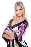 Schöne Frauen in einem farbigen Kleid Stockbilder