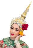 Schöne Frauen Khon Show und traditionelles Kostüm Lizenzfreies Stockfoto