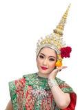 Schöne Frauen Khon Show und traditionelles Kostüm Stockfoto