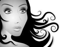 Schöne Frauen-langer Haar BW stock abbildung
