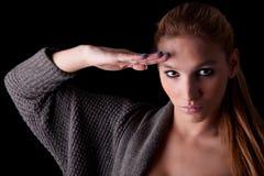Schöne Frauenbegrüßung lizenzfreie stockfotografie