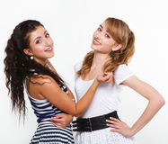 Schöne Frauenfreunde glücklich Lizenzfreie Stockfotografie