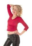 Schöne Frauenstellung und -c$lachen Lizenzfreies Stockfoto