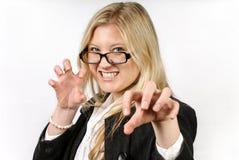 Schöne furchtsame blonde Frau Lizenzfreies Stockfoto