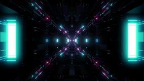 Schöne futuristische Illustration 3d des Scifiraumschiffs-Tunnelhintergrundes 3d, die motionbackground nahtlose Schleifung übertr stock abbildung