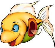 Schöne gelbe korallenrote Fische Stockfoto