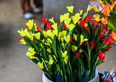 Schöne gelbe und rote Blumen Stockbild
