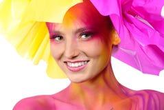 Schöne gemalte Frau lizenzfreies stockfoto