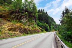 Schöne gepflasterte Straße durch die Berge und die Wälder Lizenzfreies Stockfoto