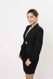 Schöne Geschäftsfrau auf einem weißen Hintergrund Stockbild