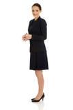Schöne Geschäftsfrau im Gesellschaftsanzug Stockfotografie