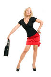 Schöne Geschäftsfrau mit Aktenkoffer Lizenzfreies Stockbild