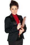 Schöne Geschäftsfrau mit dem Aktenkoffer getrennt Stockfoto