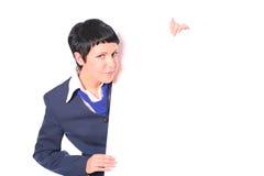 Schöne Geschäftsfrau mit einem Leerzeichen für Ihren Text Lizenzfreies Stockfoto