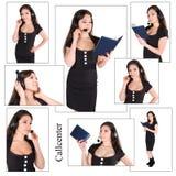 Schöne Geschäftsfrau mit Kopfhörer Stockbilder