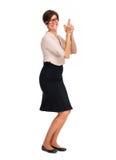 Schöne Geschäftsfrau mit Kurzhaarfrisur Stockfotografie