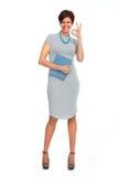 Schöne Geschäftsfrau mit Kurzhaarfrisur Stockbilder