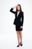 Schöne Geschäftsfraubegrüßung Stockfotografie