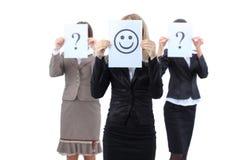 Schöne Geschäftsfrauen fragt von der Hilfe Stockbilder