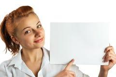 Schöne Geschäftsfraupunkte zur Fahne Stockfotos