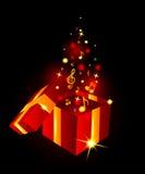 Schöne Geschenkbox mit musikalischen Anmerkungen Lizenzfreies Stockfoto