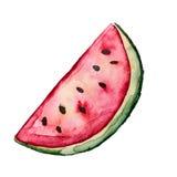 Schöne geschmackvolle appetitanregende Wassermelonen-Scheibe mit rotem saftigem Fleisch Stockfotografie