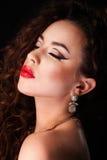 Schöne Gesichts-Make-upnahaufnahme Stockfotografie
