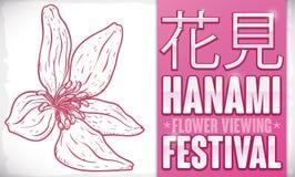 Schöne gezeichnete Art Cherry Blossoms in der Hand für Hanami-Festival, Vektor-Illustration stock abbildung