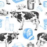 Schöne gezeichnetes nahtloses Muster der Milchprodukte des Vektors Hand lizenzfreie abbildung