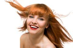 Schöne glückliche Frau mit snow-white Lächeln Lizenzfreie Stockfotografie
