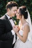 Schöne glückliche junge Braut, die hübschen Bräutigam in der sonnenbeschienen Gleichheit küsst Stockfoto