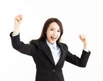Schöne glückliche junge Geschäftsfrau stockfoto