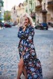 Schöne glückliche lächelnde blonde Frauenaufstellung, Kamera betrachtend Stockfotografie