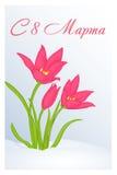 Schöne Glückwunsch- oder Grußkarte für Frauen ` s Tag mit Tulipa im Schnee Russische Übersetzung: Am 8. März Urlaubsgrüße-BAC Lizenzfreie Stockfotos